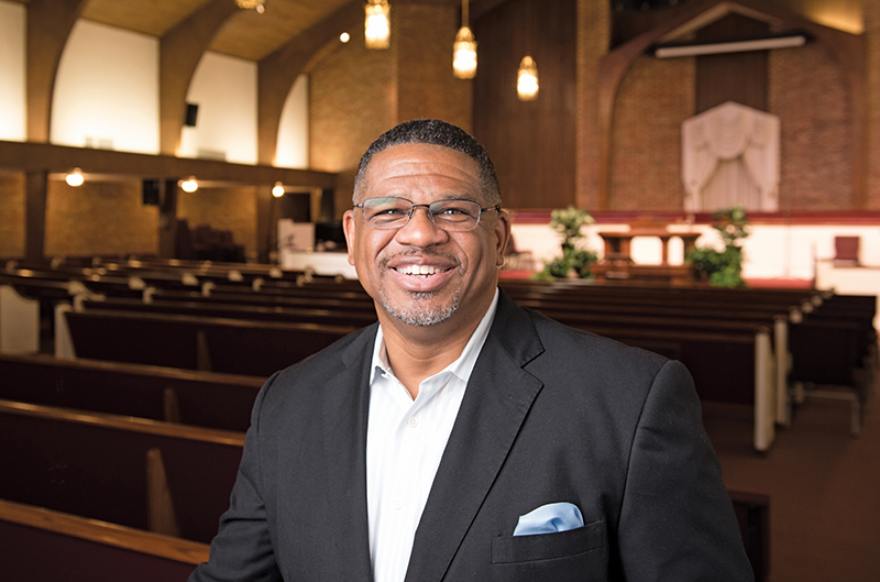 Rev. Oscar Epps in empty church after being saved from a stroke.