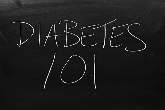 "Chalkboard wall says ""Diabetes 101"" for Diabetes education classes"