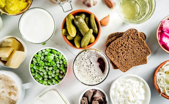 probiotic foods - pickled foods - yogurt - cottage cheese - figs - chocolate - kimchi