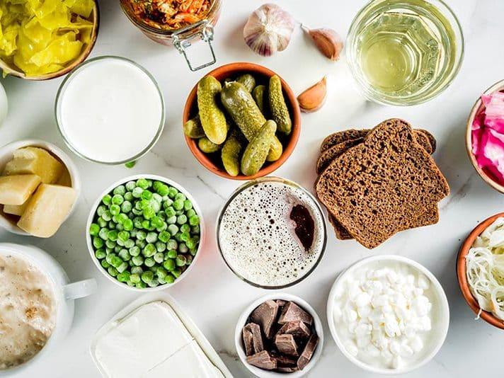 probiotic foods - pickled foods - yogurt - cottage cheese - figs - chocolate - kimchi