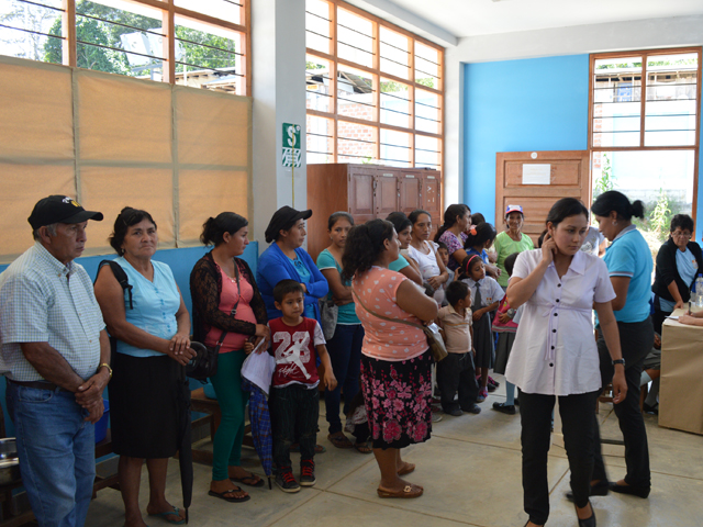A crowd waits at a a medical center during Dr. Shima's medical mission trip.