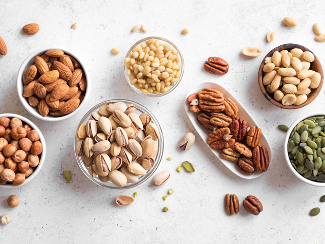Variety of nuts and seeds as easy options for healthy snacking in the car.