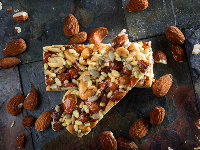 Granola bars and almonds as a healthy option for snacking in the car.