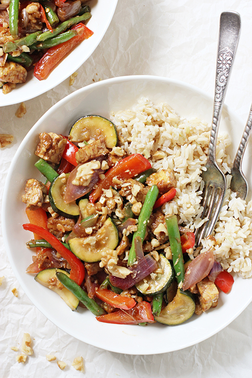 Stir fry vegetables with brown rice from ginger recipes.