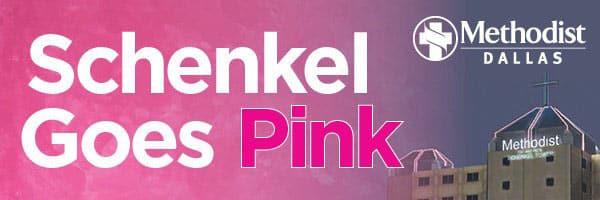 Schenkel goes pink logo with Methodist Dallas hospital.