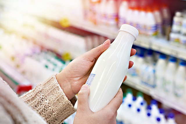 A bottle of milk, which is a common recipe substitution for people with allergies or food preferences.