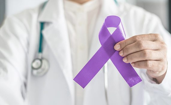 Purple ribbon for pancreatic awareness. Now there are new technologies for treating this disease.