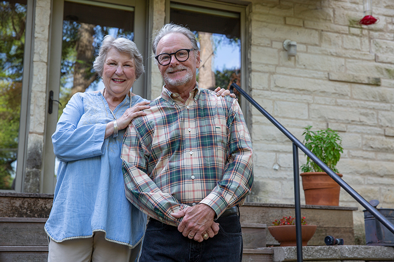 Heart patient pictured with her husband.