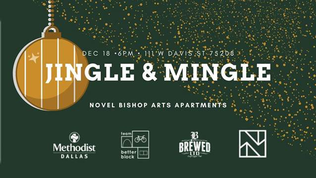 Jingle and Mingle holiday event in Bishop Arts on Dec 18 at 6:00 p.m.