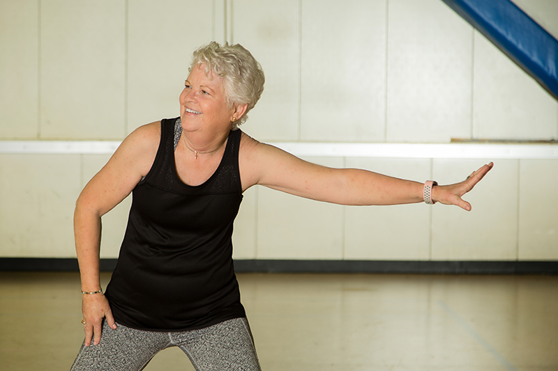 Beverly Grindele enjoying her exercise class after thyroid surgery