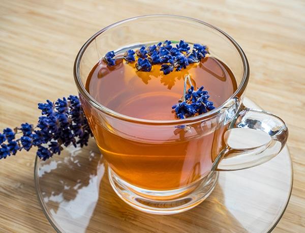 cup of lavender tea; health benefits of floral tea