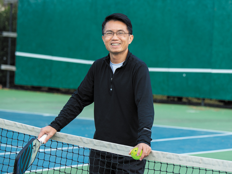 Ott Siluangkhot on tennis court post treatment for heart attack
