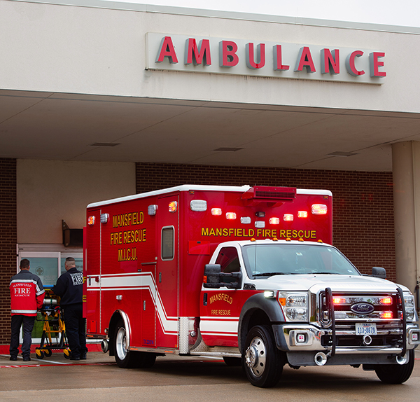 Ambulance outside Methodist Mansfield Medical Center