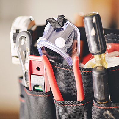Stock image of a tool bag.
