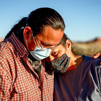 Native American couple wearing face masks