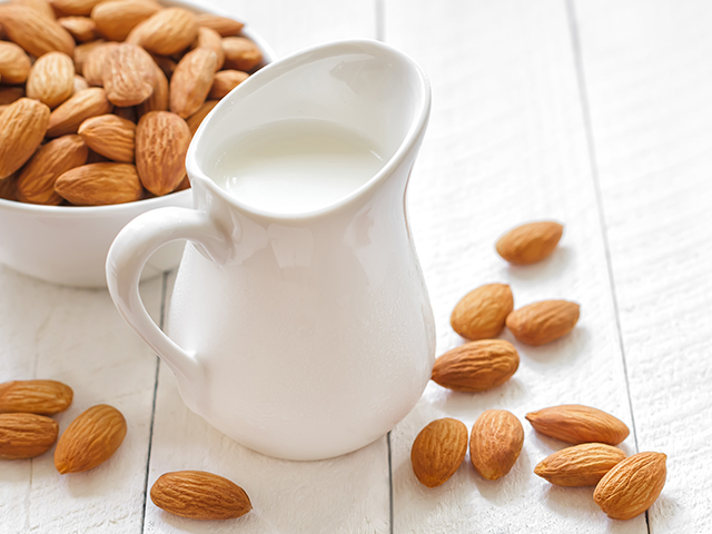 pitcher of almond milk