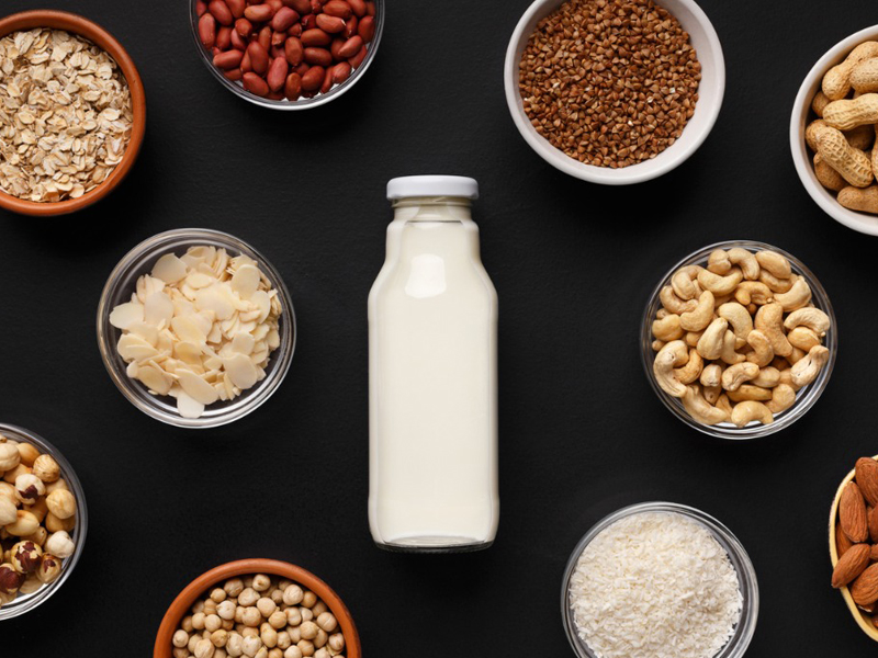 bottle of plant-based milk surrounded by bowls of nuts, rice, and oats