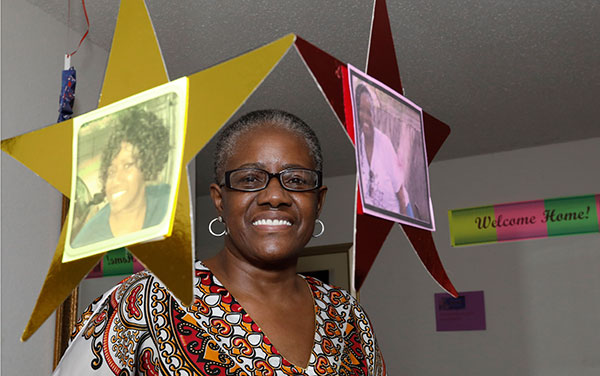 Letitia Lewis-Robinson at her welcome home party after her COVID-19 recovery