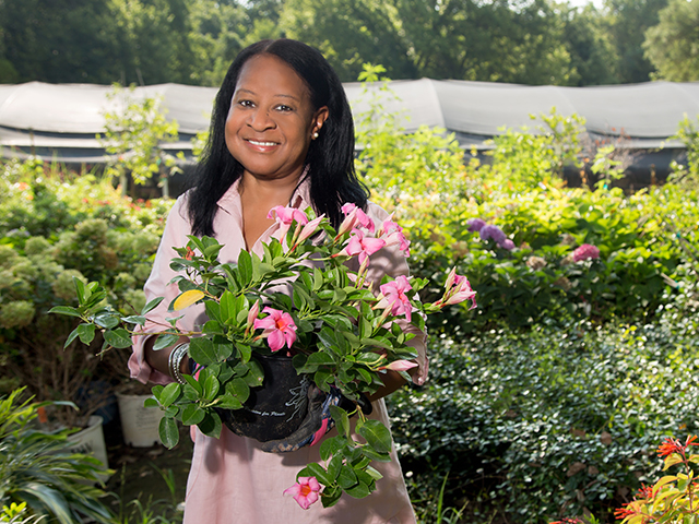 Trina green, cancer survivor, stands smiling at camera with pink flowers in her hands