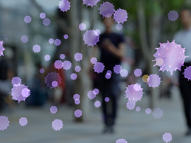 Image of people walking and standing in the background, with purple virus images in the foreground