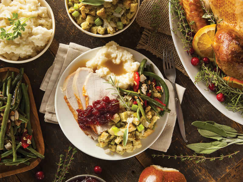 Thanksgiving plate, used to explain holiday menu options