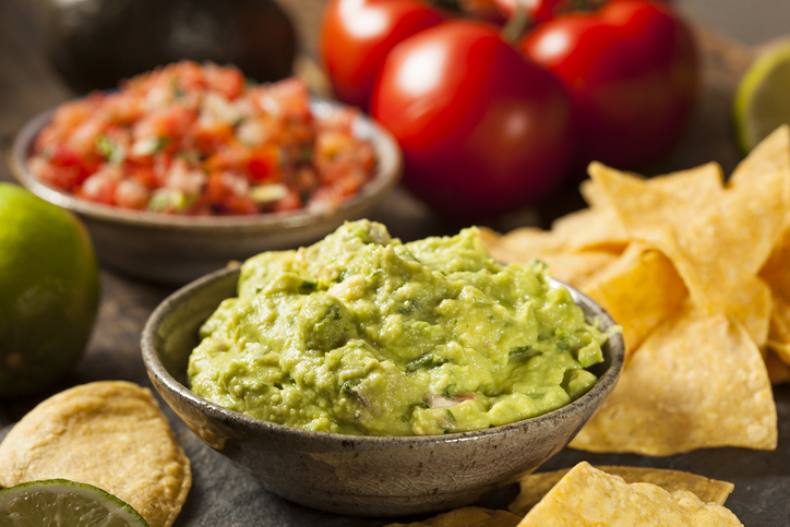 Bowl of guacamole and chips