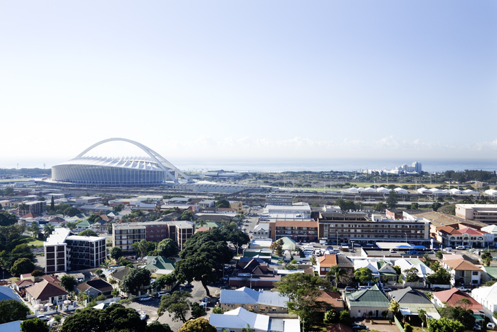 Image of the Durban, South Africa skyline with the Moses Mabhida Stadium in view