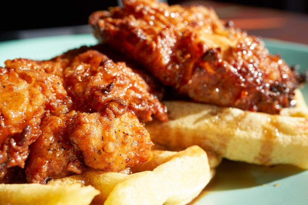 Chicken and waffles, a popular soul food dish