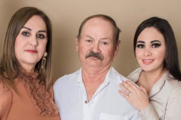 Sergio, Ana, and Nallely Cerda, photographed together, used to explain when Nallely's father was airlifted for COVID-19 care