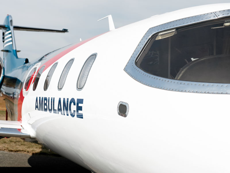 Photo of ambulance air vehicle, used to explain how one father was airlifted for COVID-19 care