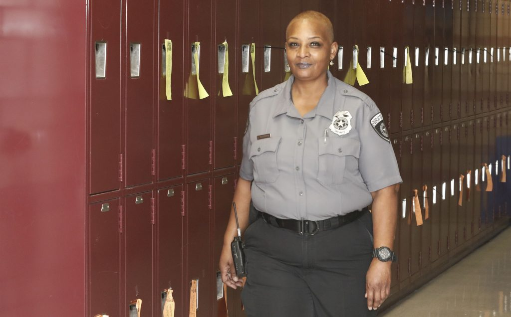 Sherita Cunningham on the job as a security guard for the Dallas school system