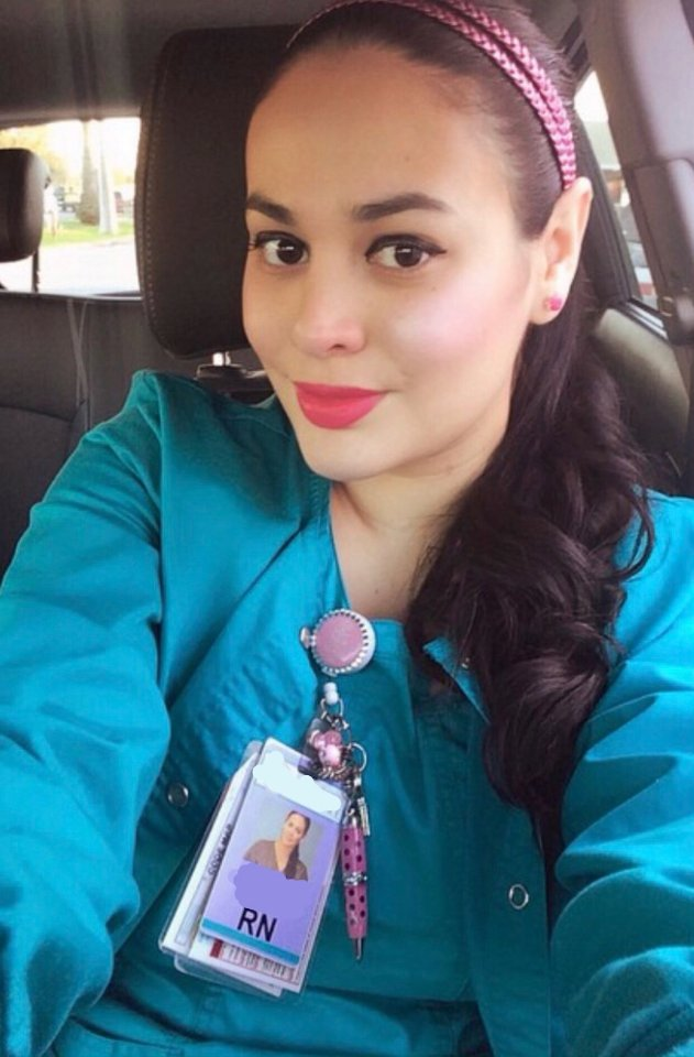 Nallely Cerda, photographed in her nurse scrubs