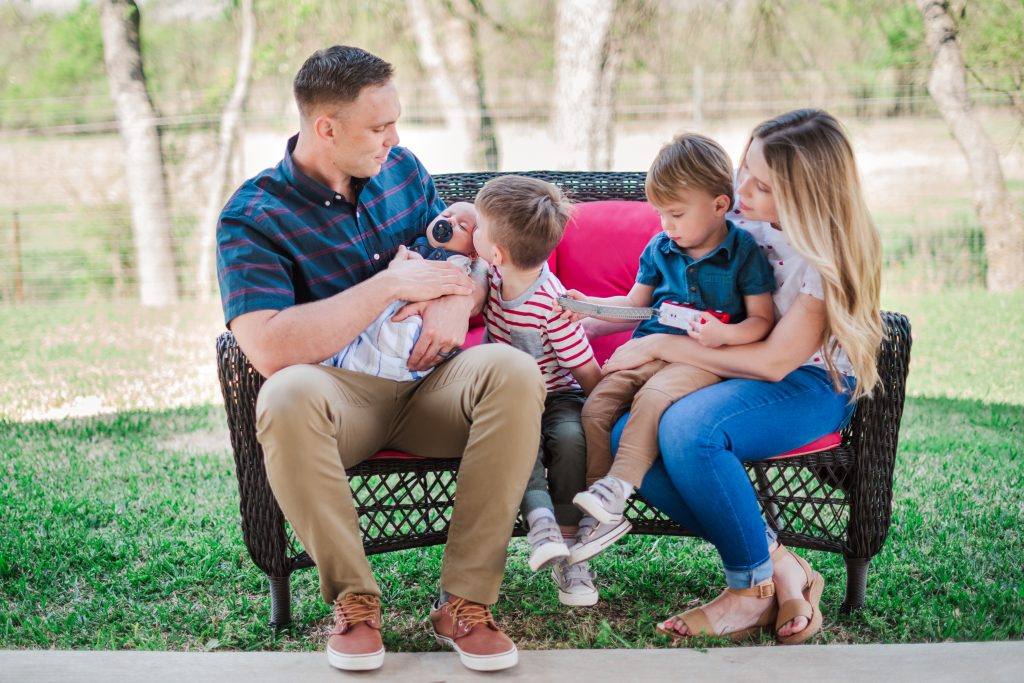 Haley and Zach Stewart with their three children after Haley gave birth to the first newborn delivered at Methodist Midlothian Medical Center