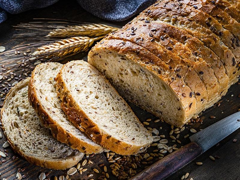 Whole grain bread, sliced, high in fiber