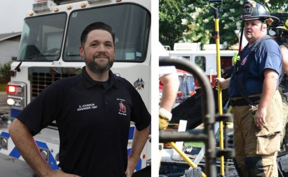 Two photos of Alvarado fireman Doug Johnson before and after bariatric surgery