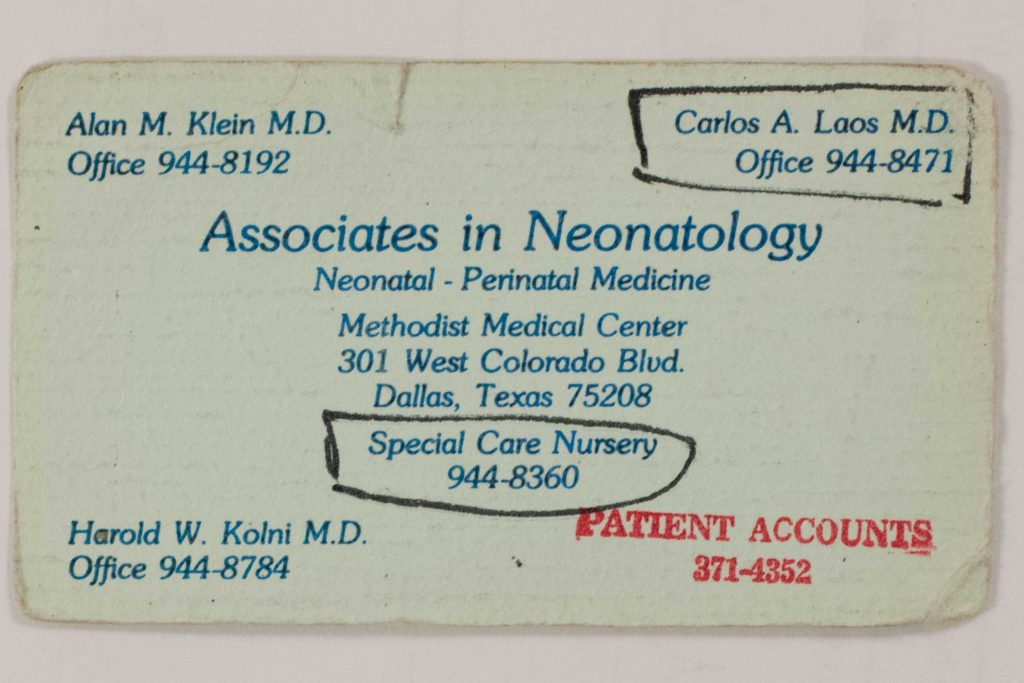 The business card that Leslie's mother, Teresa, kept for three decades, with doctor Carlos Laos' name on it
