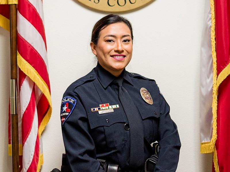 Arlington police officer Leonor Thompson after her visit to the Midlothian ER