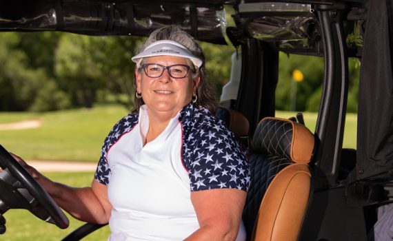 Mimi Leasor of Mansfield photographed in a golf cart after her widow maker heart attack, a condition that affects men and women