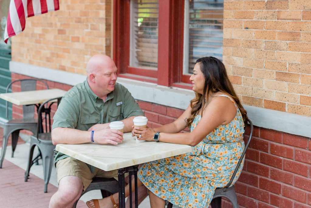 Leonor, an Arlington police detective, and husband Shane, an Ellis County sheriff's investigator, having a coffee at a local cafe.