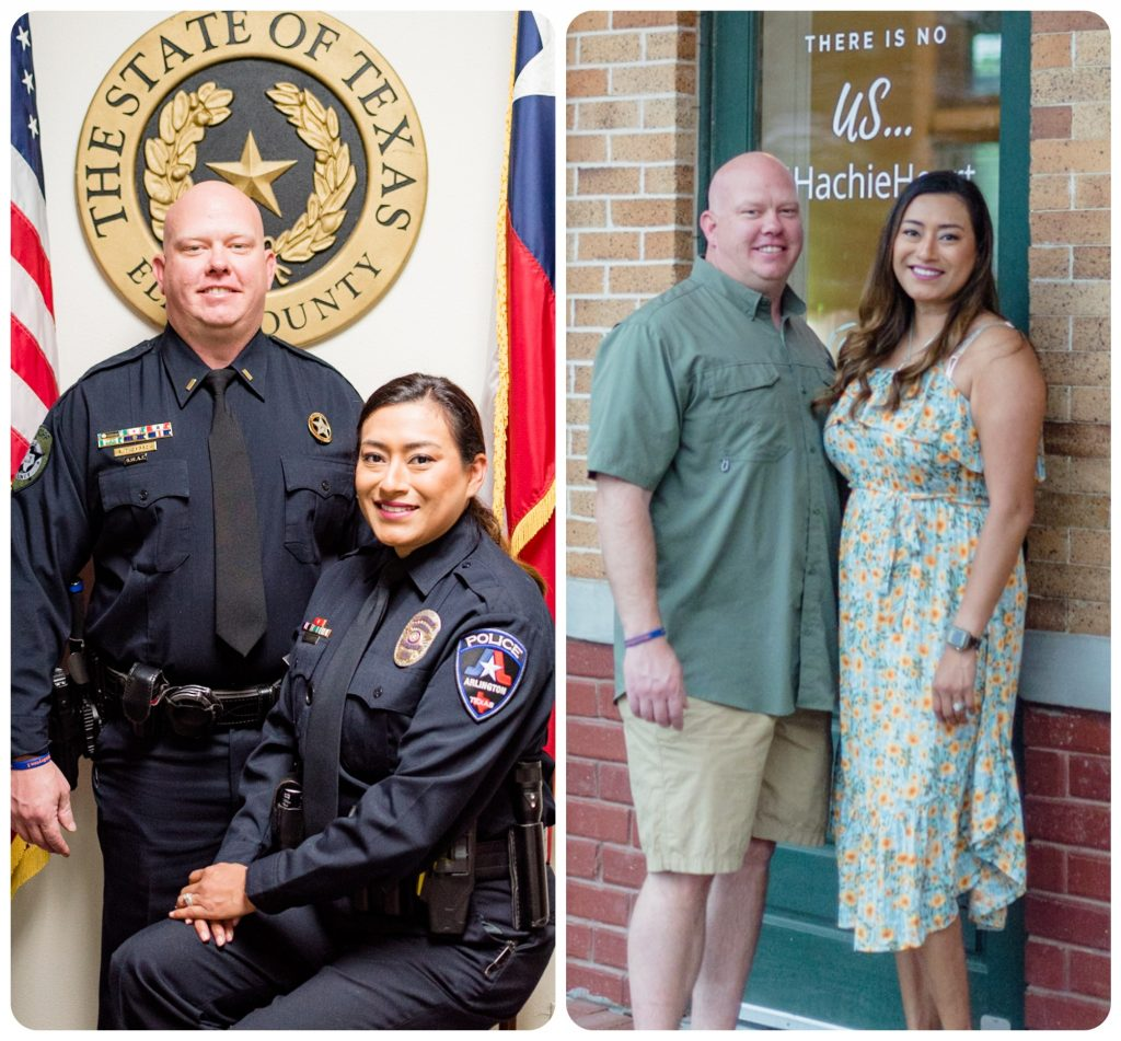 Leonor, an Arlington police detective, and husband Shane, an Ellis County sheriff's investigator, in two photos, one out of uniform and one in uniform.