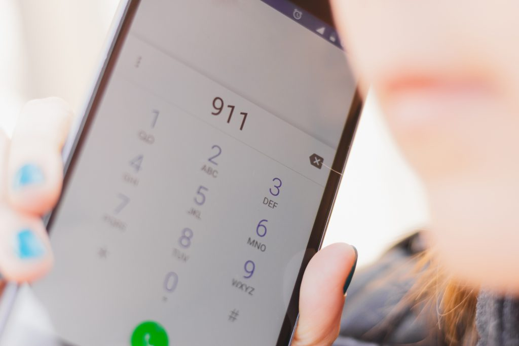 """Smartphone with """"911"""" dialed"""