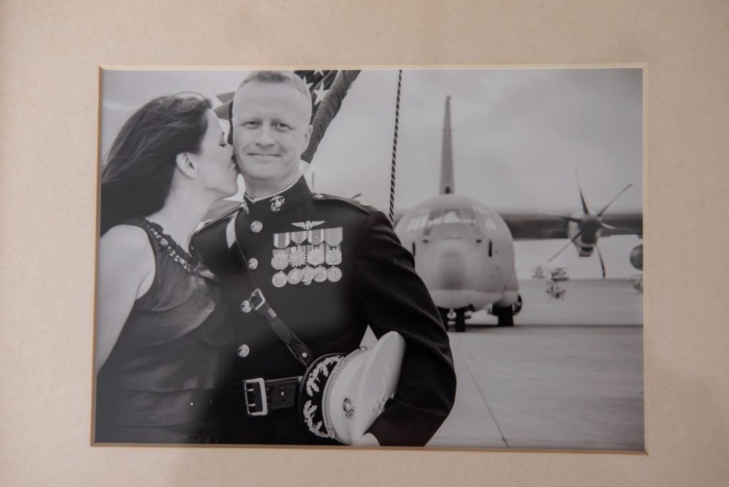 Marine pilot Colonel Jason Julian and his wife after his cancer recovery