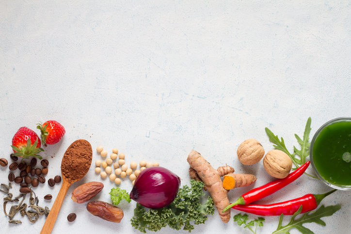 An array of spices and vegetables