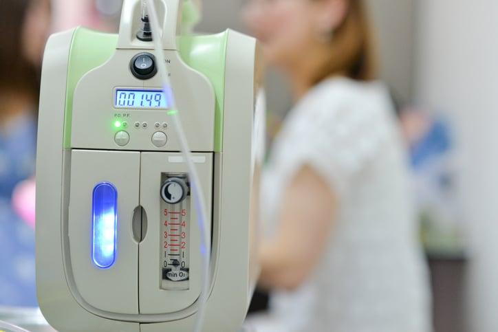 An oxygenation machine reading 001.49